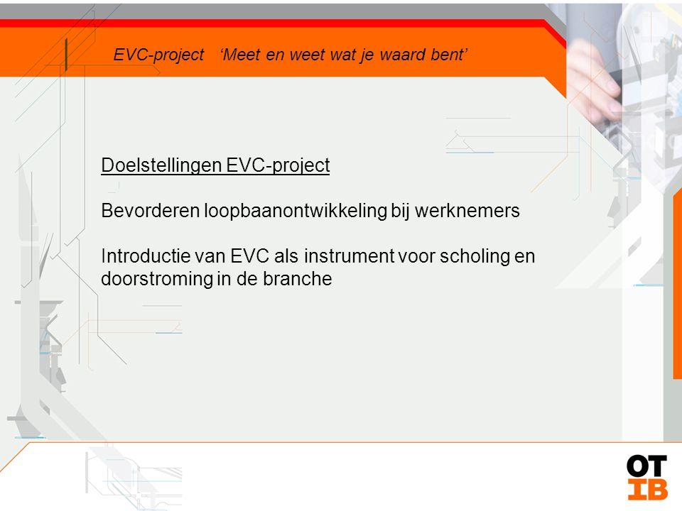 Doelstellingen EVC-project Bevorderen loopbaanontwikkeling bij werknemers EVC-project 'Meet en weet wat je waard bent'