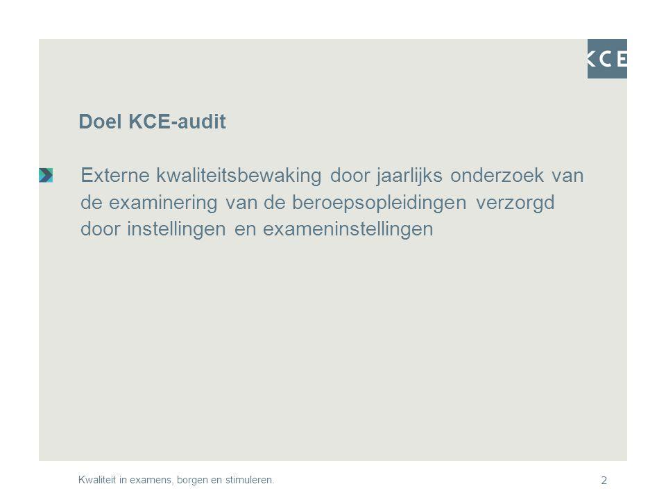 Kwaliteit in examens, borgen en stimuleren.2 Doel KCE-audit Externe kwaliteitsbewaking door jaarlijks onderzoek van de examinering van de beroepsopleidingen verzorgd door instellingen en exameninstellingen