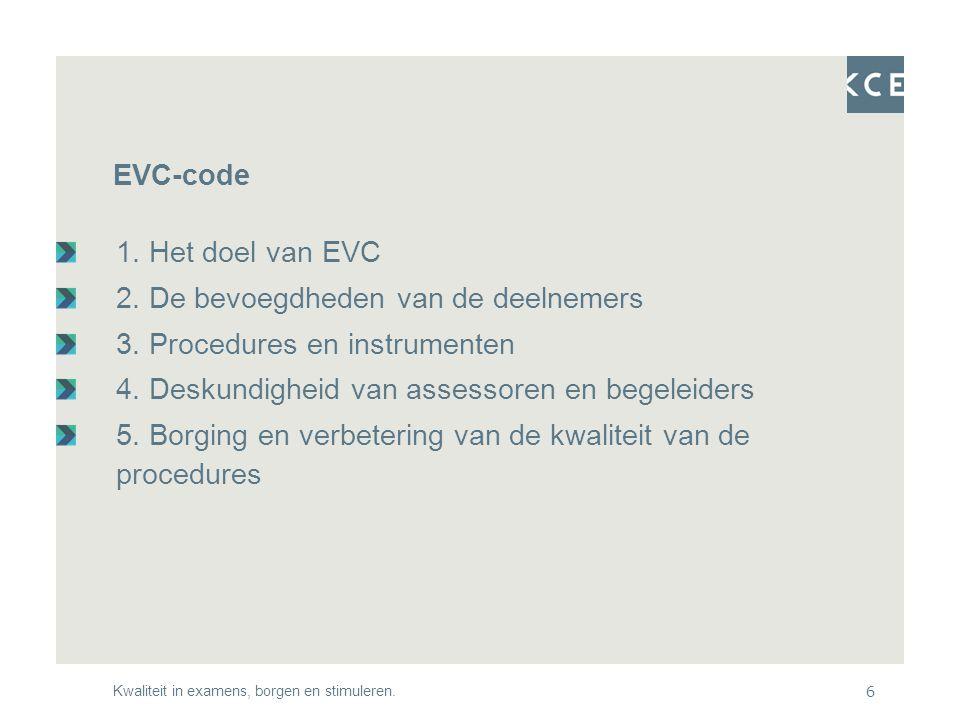Kwaliteit in examens, borgen en stimuleren.6 EVC-code 1.