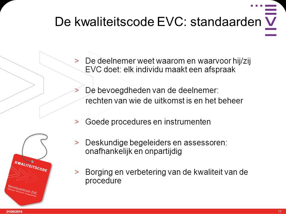 21/09/2014 11 De kwaliteitscode EVC: standaarden >De deelnemer weet waarom en waarvoor hij/zij EVC doet: elk individu maakt een afspraak >De bevoegdhe