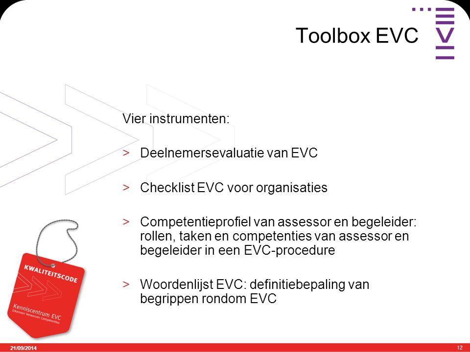 21/09/2014 12 Toolbox EVC Vier instrumenten: >Deelnemersevaluatie van EVC >Checklist EVC voor organisaties >Competentieprofiel van assessor en begeleider: rollen, taken en competenties van assessor en begeleider in een EVC-procedure >Woordenlijst EVC: definitiebepaling van begrippen rondom EVC