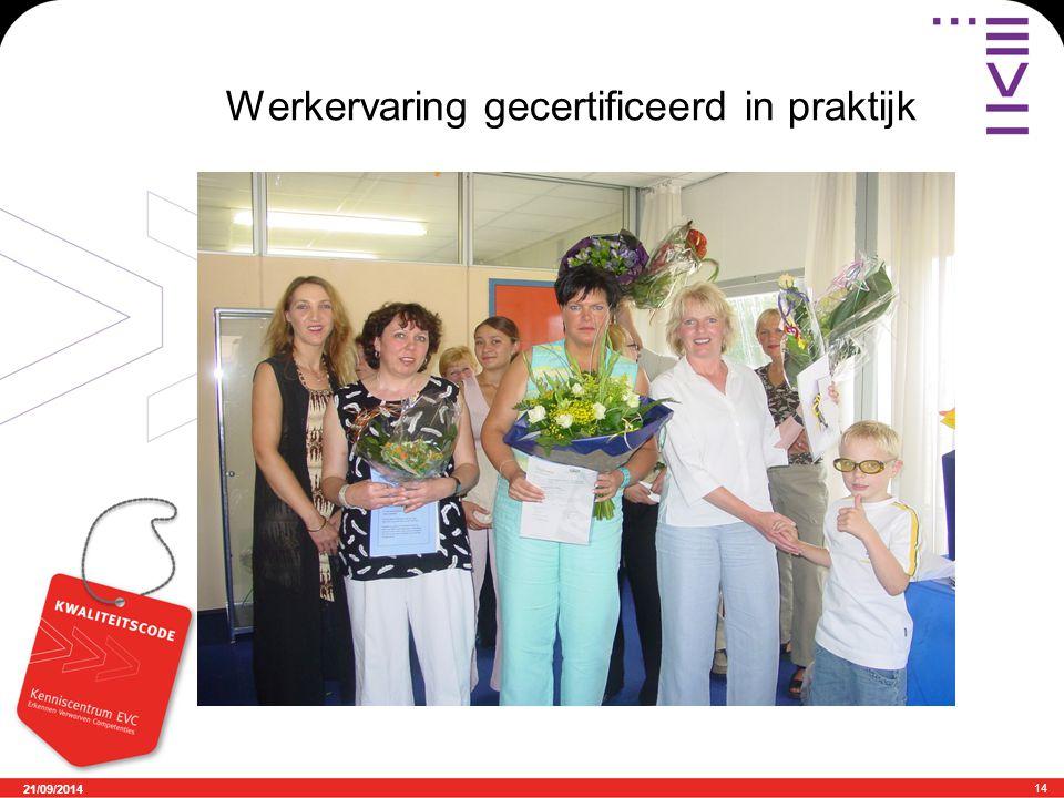 21/09/2014 14 Werkervaring gecertificeerd in praktijk