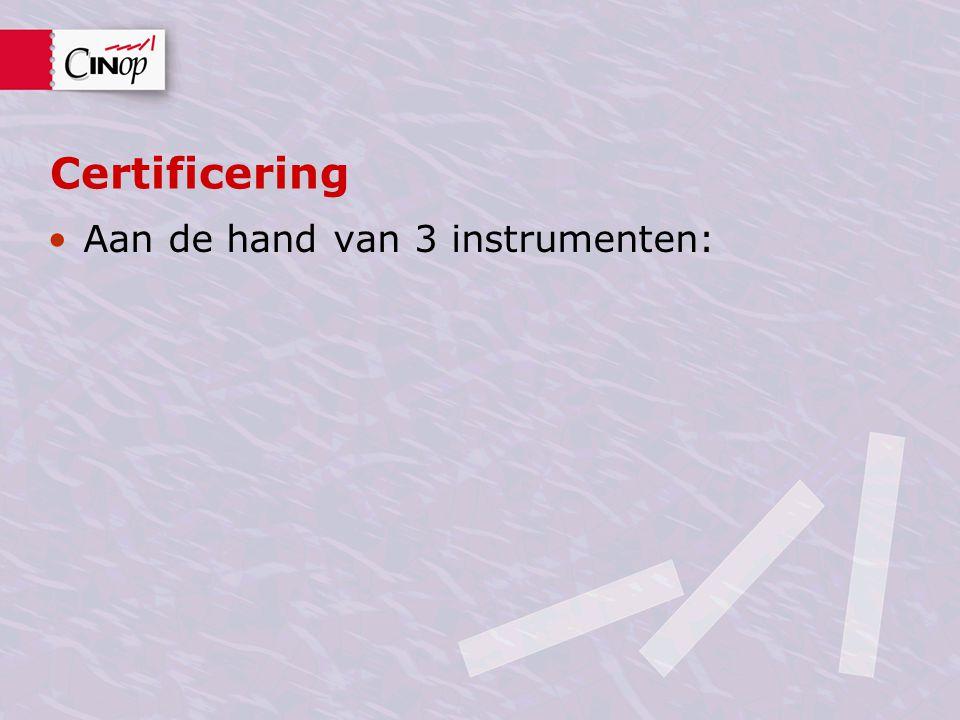 Certificering Aan de hand van 3 instrumenten: