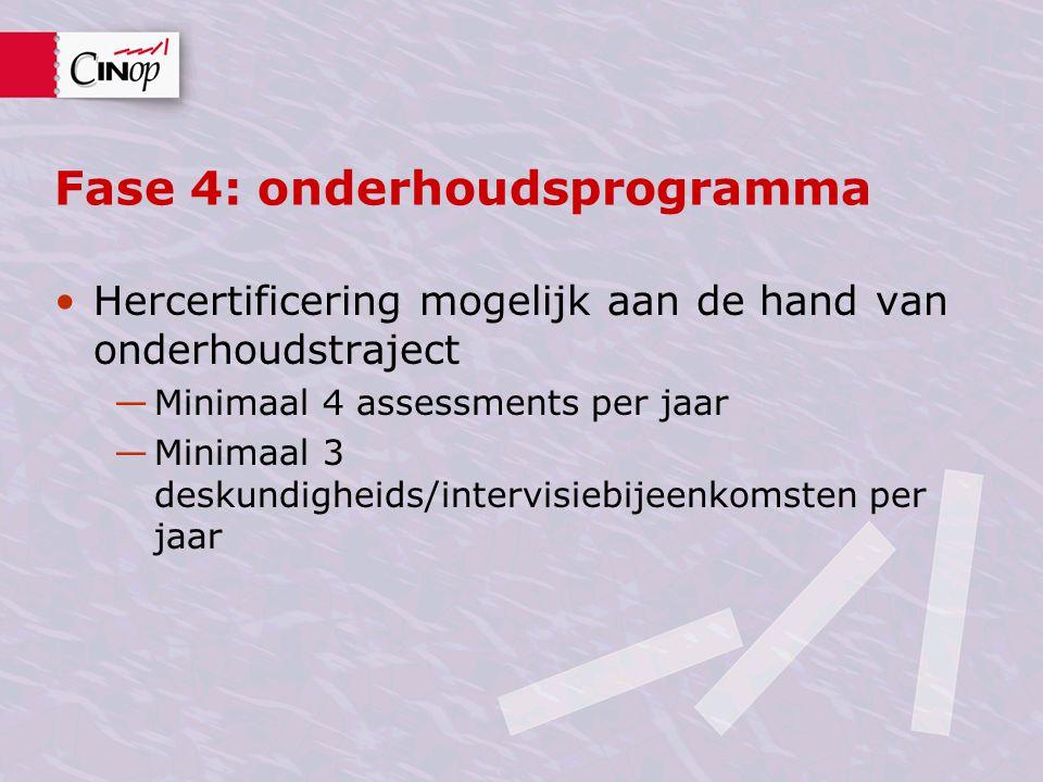 Fase 4: onderhoudsprogramma Hercertificering mogelijk aan de hand van onderhoudstraject —Minimaal 4 assessments per jaar —Minimaal 3 deskundigheids/intervisiebijeenkomsten per jaar