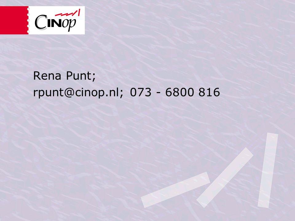 Rena Punt; rpunt@cinop.nl; 073 - 6800 816