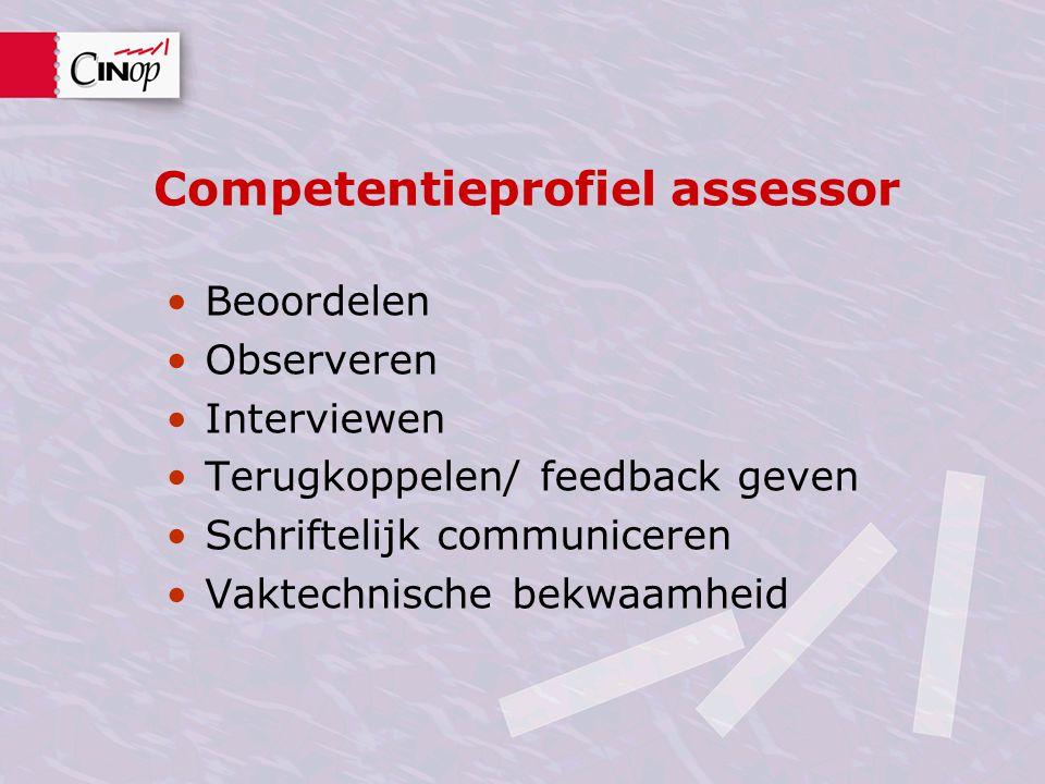 Competentieprofiel assessor Beoordelen Observeren Interviewen Terugkoppelen/ feedback geven Schriftelijk communiceren Vaktechnische bekwaamheid
