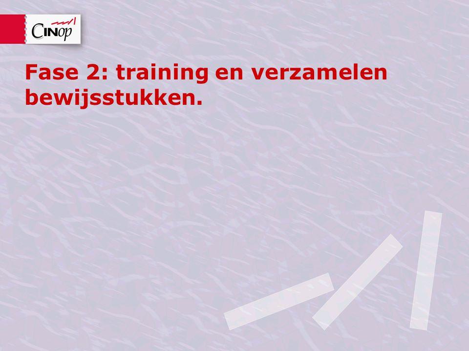 Fase 2: training en verzamelen bewijsstukken.