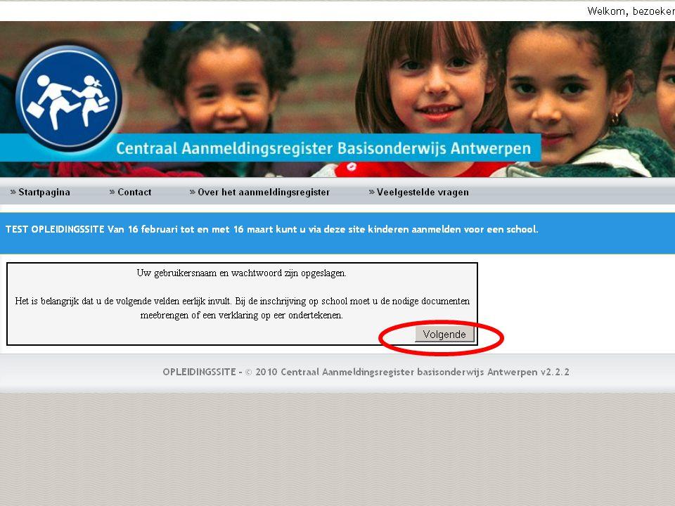 Klik op deze pijl om de geselecteerde school te kiezen.