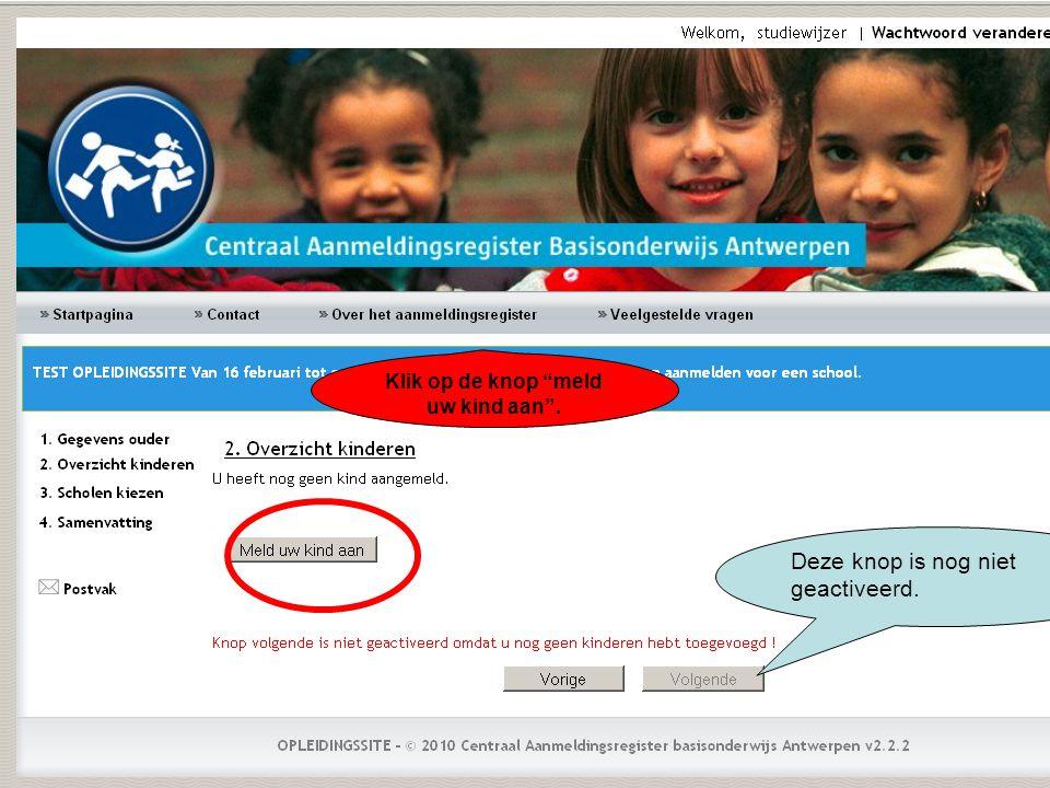 Nadat u op zoeken hebt geklikt, verschijnen de scholen van de door u geselecteerde postcode.