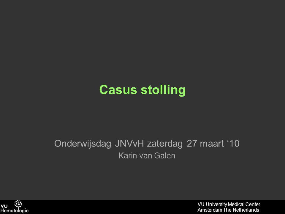 VU University Medical Center Amsterdam The Netherlands Casus: vrouw 66jr RvK: acute dyspnoe na opstaan VG: DVT, gedilateerde cardiomyopathie LO: RR 85/55, p 138, AF 30x, gebruik hulp AH- spieren, S 100% met 15 ltr O 2, CVD n.t.b.