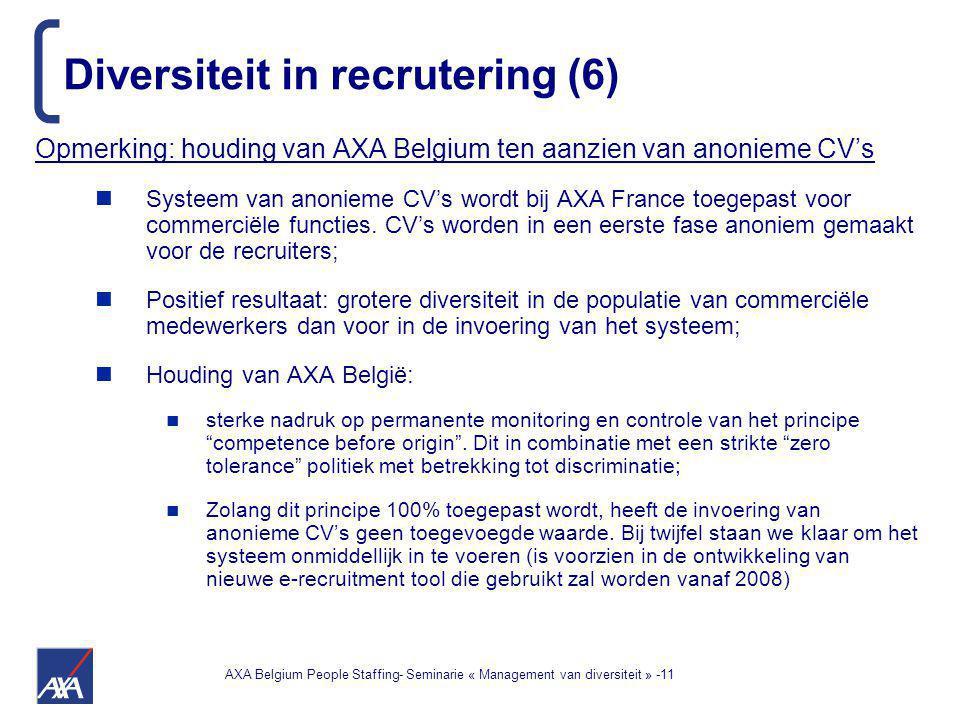 AXA Belgium People Staffing- Seminarie « Management van diversiteit » -11 Diversiteit in recrutering (6) Opmerking: houding van AXA Belgium ten aanzien van anonieme CV's Systeem van anonieme CV's wordt bij AXA France toegepast voor commerciële functies.