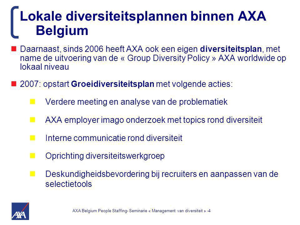 AXA Belgium People Staffing- Seminarie « Management van diversiteit » -4 Daarnaast, sinds 2006 heeft AXA ook een eigen diversiteitsplan, met name de uitvoering van de « Group Diversity Policy » AXA worldwide op lokaal niveau 2007: opstart Groeidiversiteitsplan met volgende acties: Verdere meeting en analyse van de problematiek AXA employer imago onderzoek met topics rond diversiteit Interne communicatie rond diversiteit Oprichting diversiteitswerkgroep Deskundigheidsbevordering bij recruiters en aanpassen van de selectietools Lokale diversiteitsplannen binnen AXA Belgium