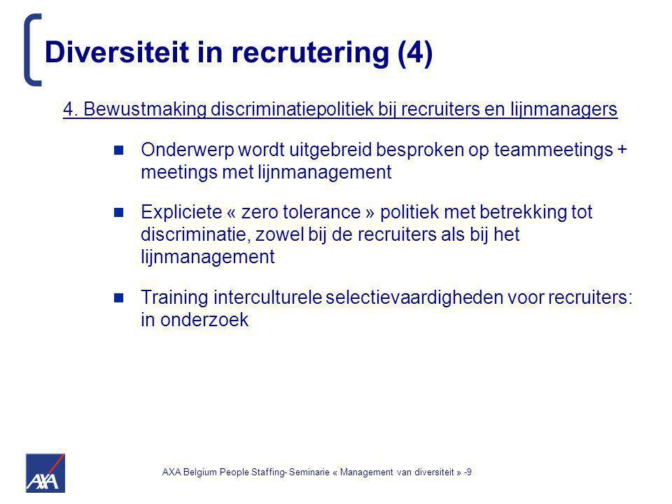 AXA Belgium People Staffing- Seminarie « Management van diversiteit » -9 4. Bewustmaking discriminatiepolitiek bij recruiters en lijnmanagers Onderwer