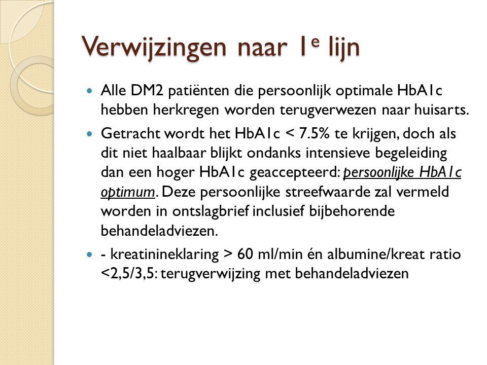 Verwijzingen naar 1 e lijn Alle DM2 patiënten die persoonlijk optimale HbA1c hebben herkregen worden terugverwezen naar huisarts. Getracht wordt het H