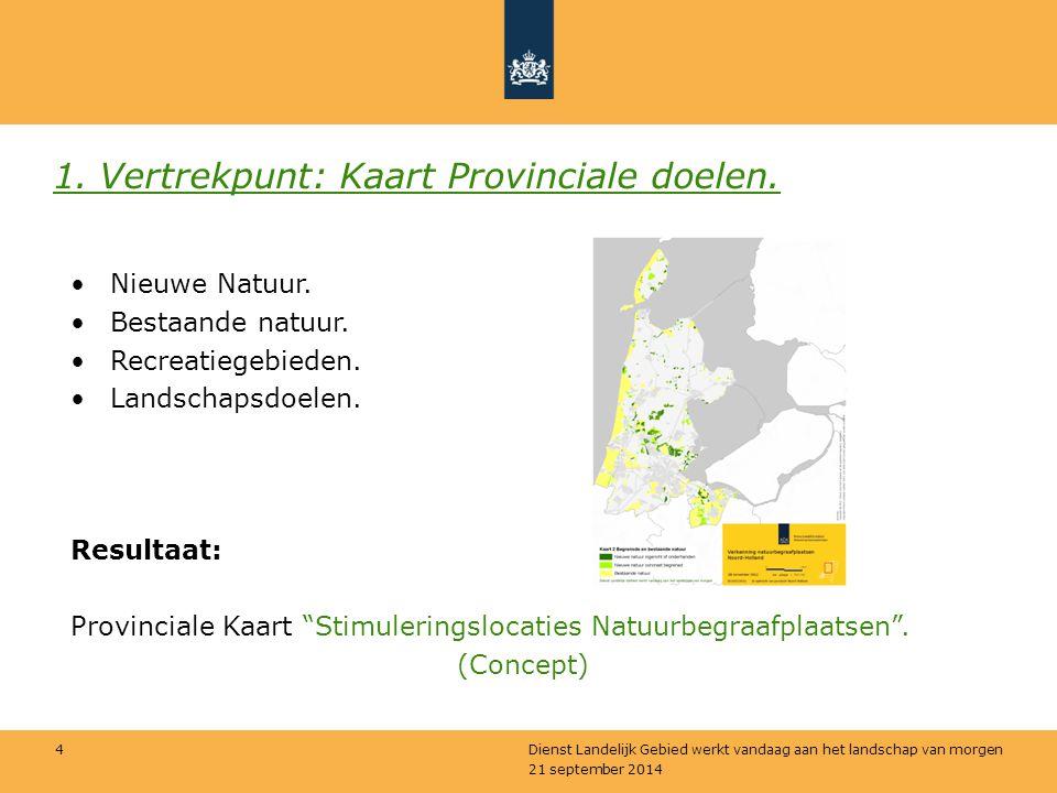 21 september 2014 Dienst Landelijk Gebied werkt vandaag aan het landschap van morgen 4 1. Vertrekpunt: Kaart Provinciale doelen. Nieuwe Natuur. Bestaa