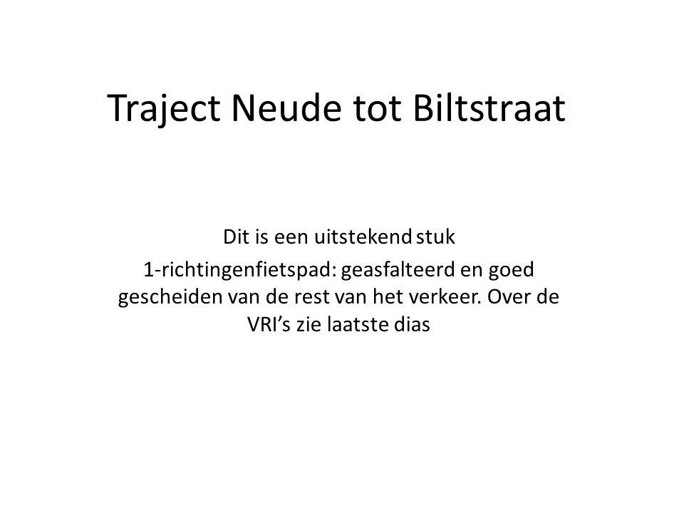 Traject Neude tot Biltstraat Dit is een uitstekend stuk 1-richtingenfietspad: geasfalteerd en goed gescheiden van de rest van het verkeer. Over de VRI