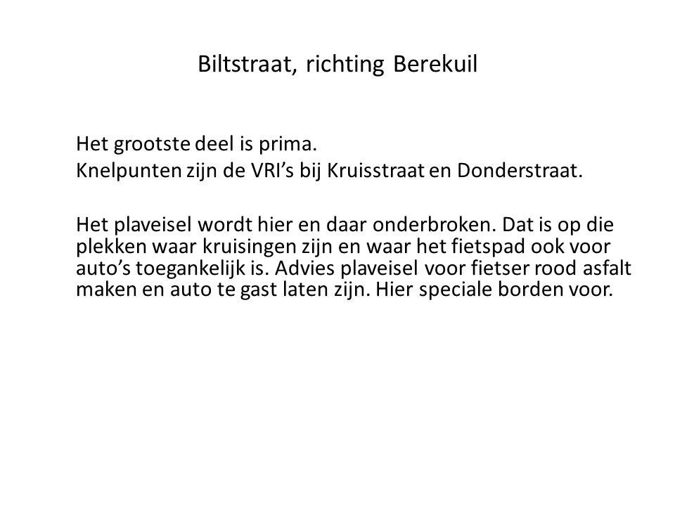 Biltstraat, richting Berekuil Het grootste deel is prima. Knelpunten zijn de VRI's bij Kruisstraat en Donderstraat. Het plaveisel wordt hier en daar o