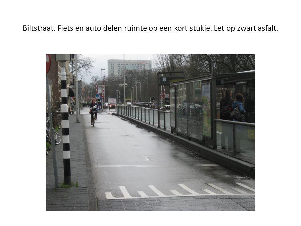 Biltstraat. Fiets en auto delen ruimte op een kort stukje. Let op zwart asfalt.