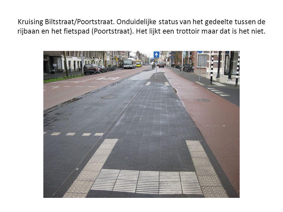 Kruising Biltstraat/Poortstraat. Onduidelijke status van het gedeelte tussen de rijbaan en het fietspad (Poortstraat). Het lijkt een trottoir maar dat