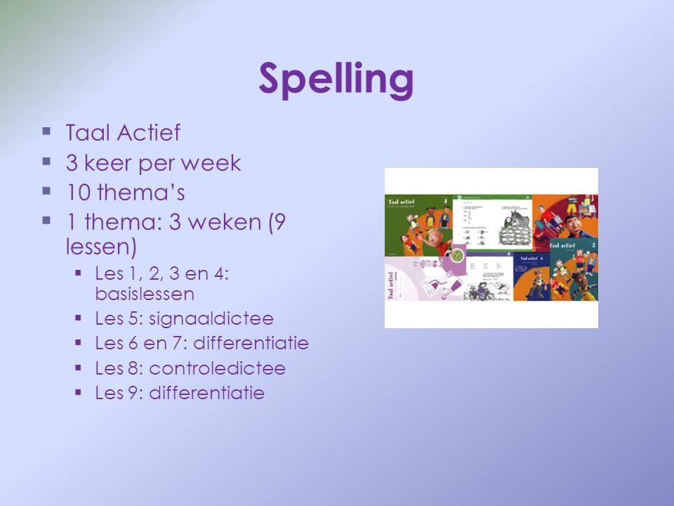 Spelling   Taal Actief   3 keer per week   10 thema's   1 thema: 3 weken (9 lessen)   Les 1, 2, 3 en 4: basislessen   Les 5: signaaldictee