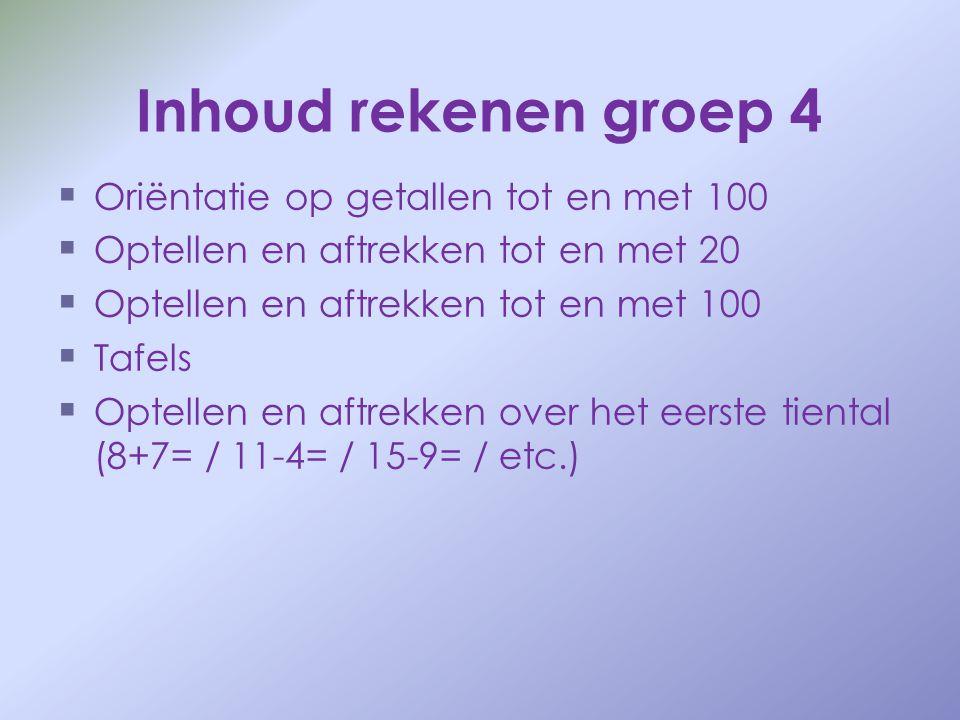 Inhoud rekenen groep 4   Oriëntatie op getallen tot en met 100   Optellen en aftrekken tot en met 20   Optellen en aftrekken tot en met 100  