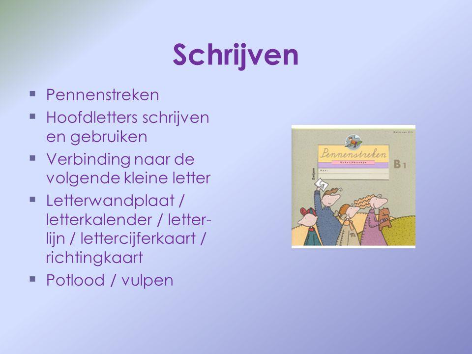 Schrijven   Pennenstreken   Hoofdletters schrijven en gebruiken   Verbinding naar de volgende kleine letter   Letterwandplaat / letterkalender