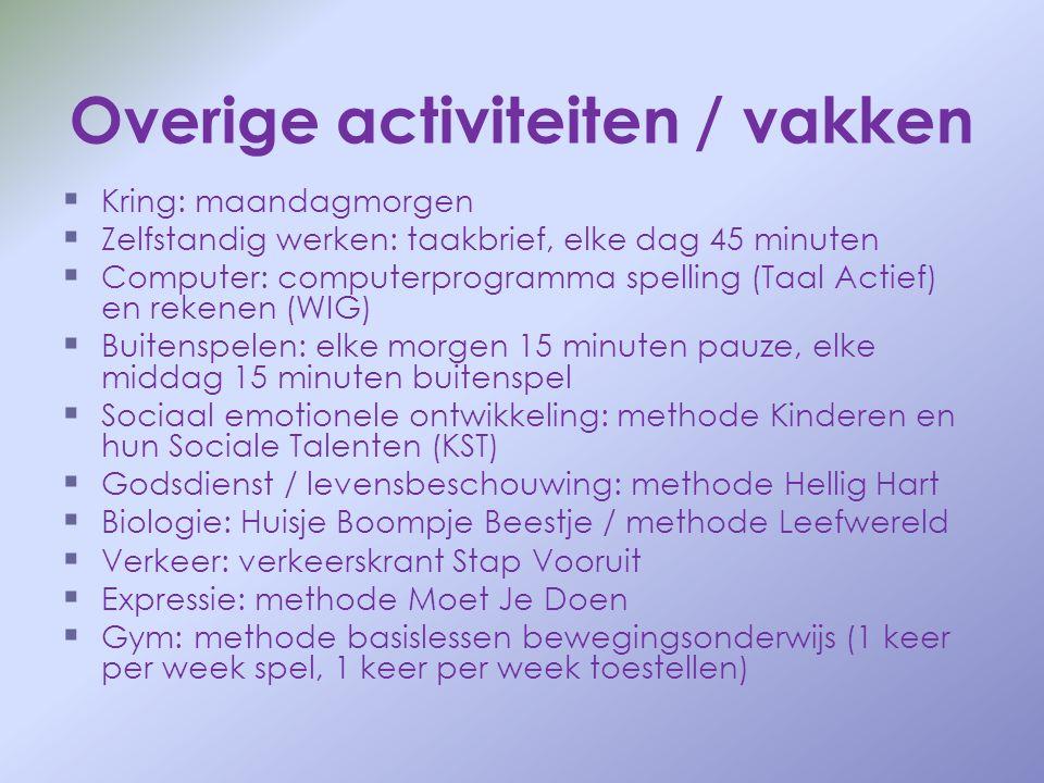 Overige activiteiten / vakken   Kring: maandagmorgen   Zelfstandig werken: taakbrief, elke dag 45 minuten   Computer: computerprogramma spelling
