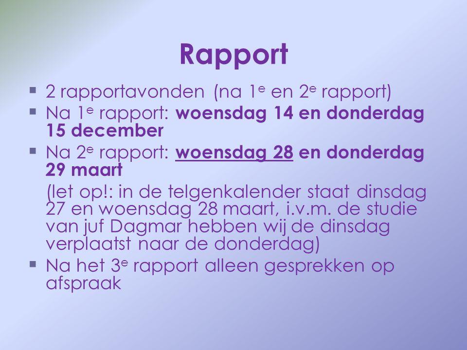 Rapport   2 rapportavonden (na 1 e en 2 e rapport)   Na 1 e rapport: woensdag 14 en donderdag 15 december   Na 2 e rapport: woensdag 28 en donde