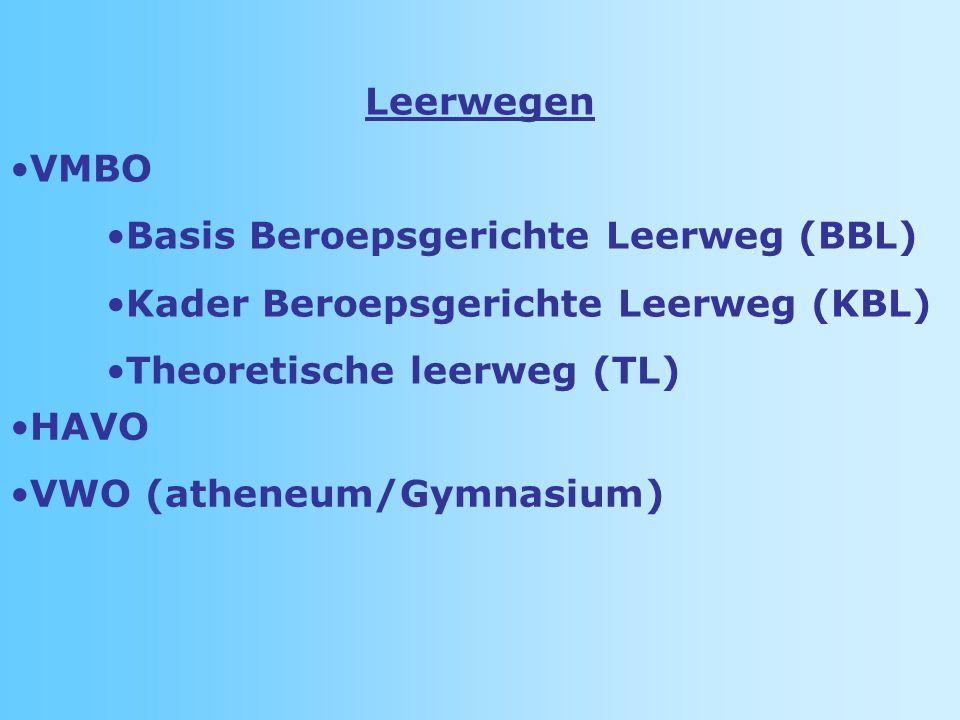 Leerwegen VMBO Basis Beroepsgerichte Leerweg (BBL) Kader Beroepsgerichte Leerweg (KBL) Theoretische leerweg (TL) HAVO VWO (atheneum/Gymnasium)