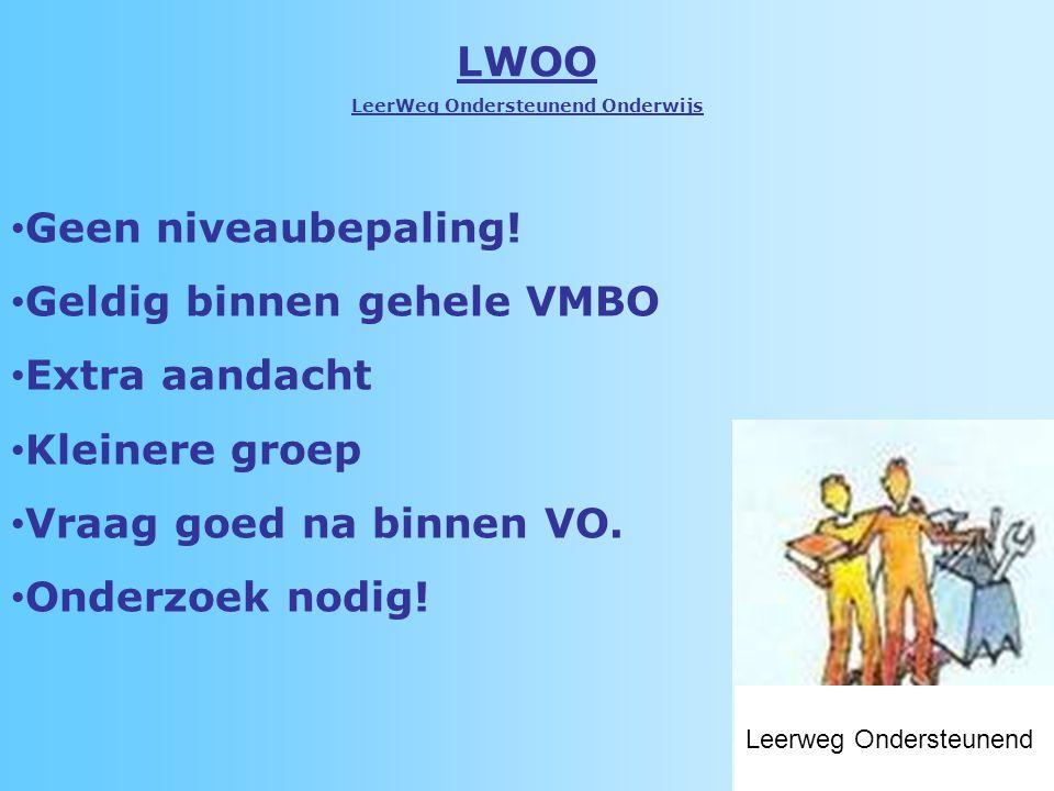 LWOO LeerWeg Ondersteunend Onderwijs Geen niveaubepaling.