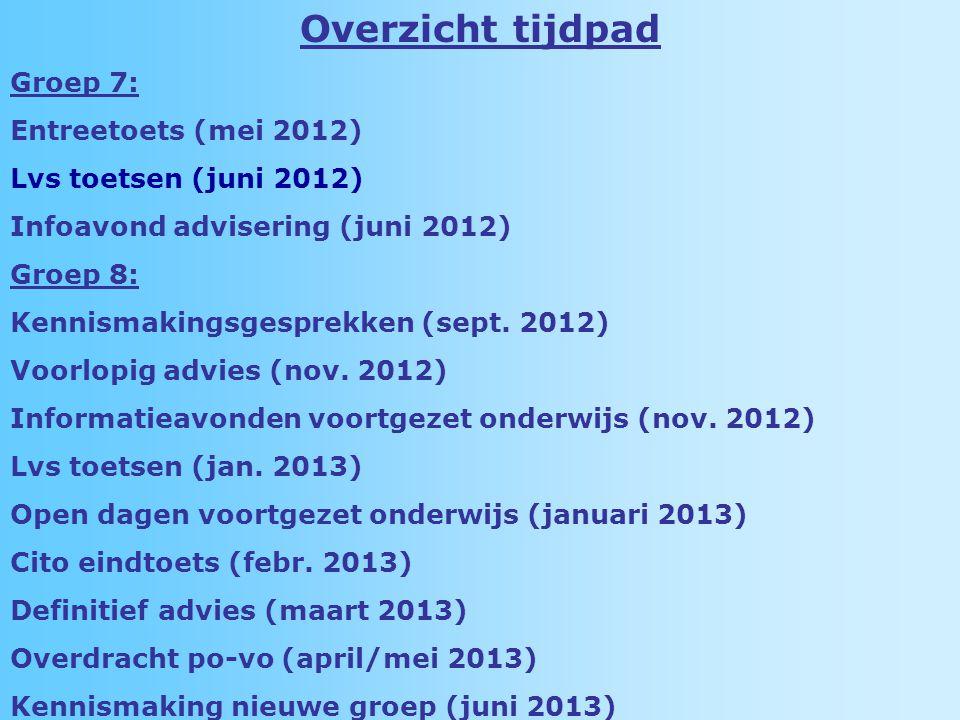 Overzicht tijdpad Groep 7: Entreetoets (mei 2012) Lvs toetsen (juni 2012) Infoavond advisering (juni 2012) Groep 8: Kennismakingsgesprekken (sept.