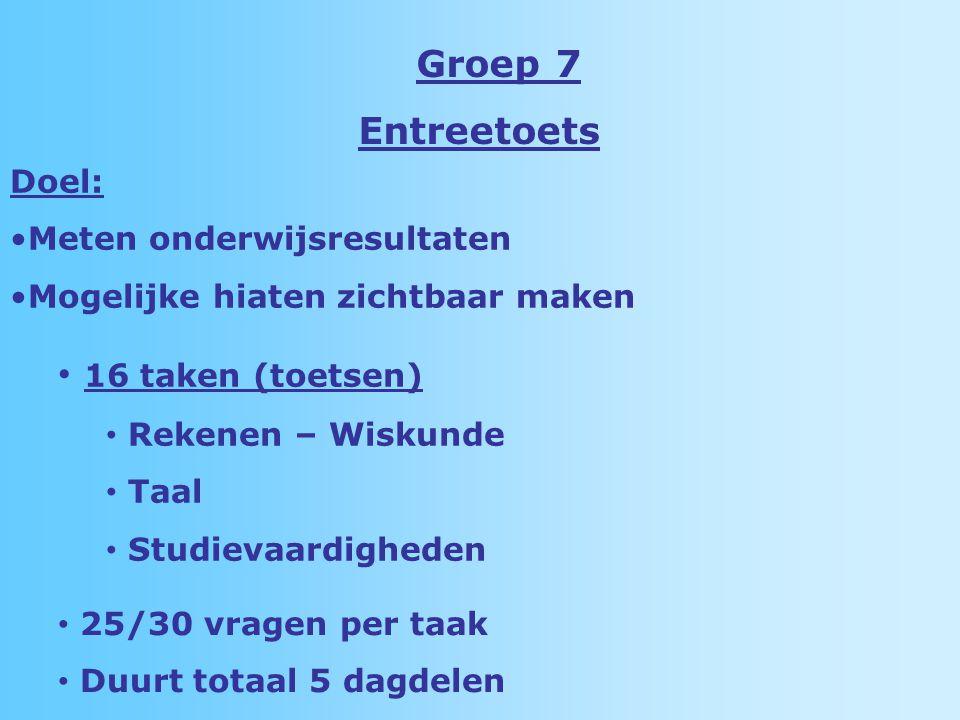 Groep 7 Entreetoets 16 taken (toetsen) Rekenen – Wiskunde Taal Studievaardigheden 25/30 vragen per taak Duurt totaal 5 dagdelen Doel: Meten onderwijsresultaten Mogelijke hiaten zichtbaar maken