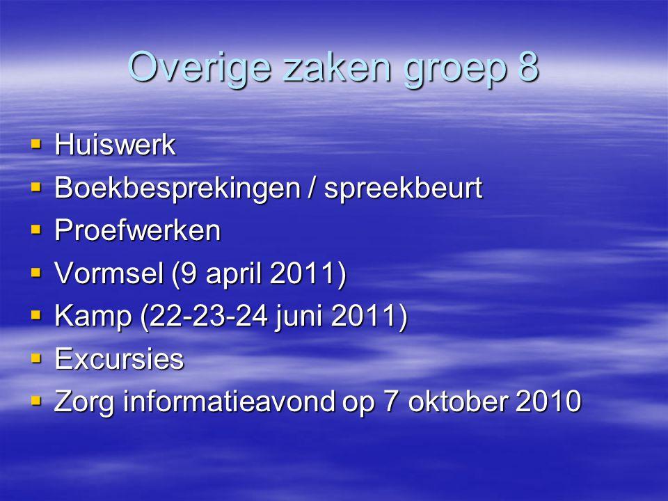 Overige zaken groep 8  Huiswerk  Boekbesprekingen / spreekbeurt  Proefwerken  Vormsel (9 april 2011)  Kamp (22-23-24 juni 2011)  Excursies  Zor