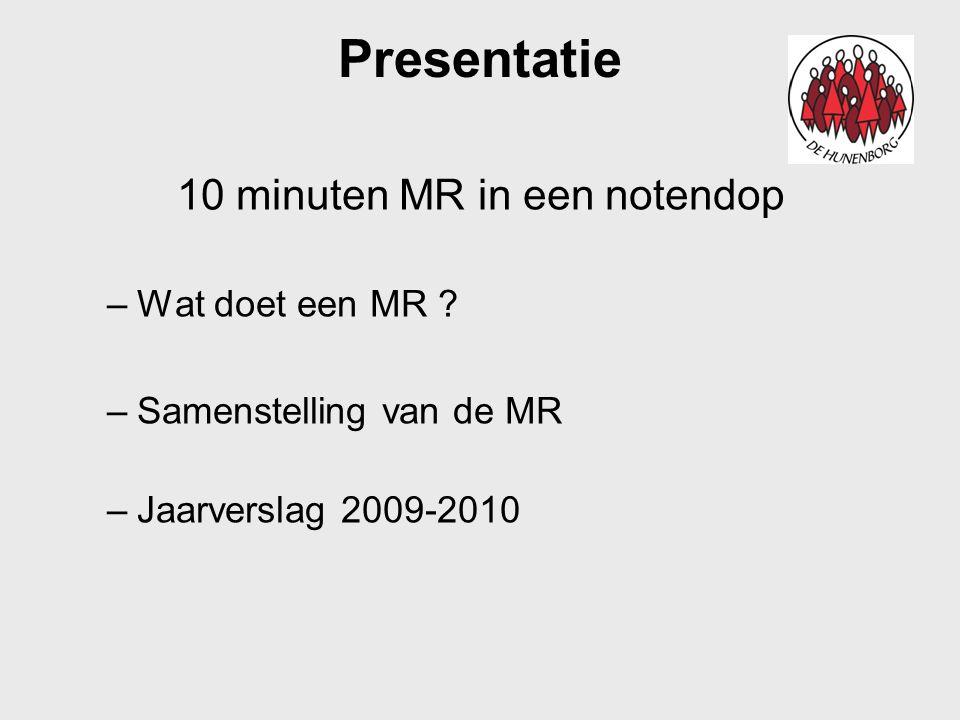 Presentatie 10 minuten MR in een notendop –Wat doet een MR ? –Samenstelling van de MR –Jaarverslag 2009-2010