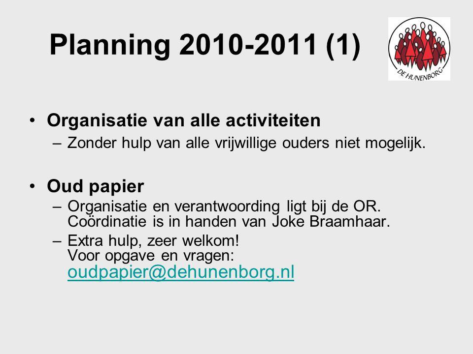 Planning 2010-2011 (1) Organisatie van alle activiteiten –Zonder hulp van alle vrijwillige ouders niet mogelijk. Oud papier –Organisatie en verantwoor