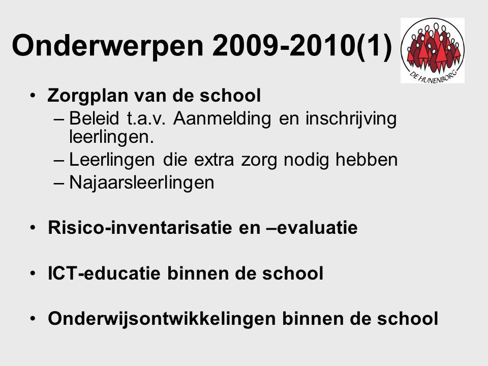 Onderwerpen 2009-2010(2) Communicatie Groepsindeling Financieel Meedenken over de functie-inhoud van het leraarschap en actief deelnemer aan sollicitatieprocedures