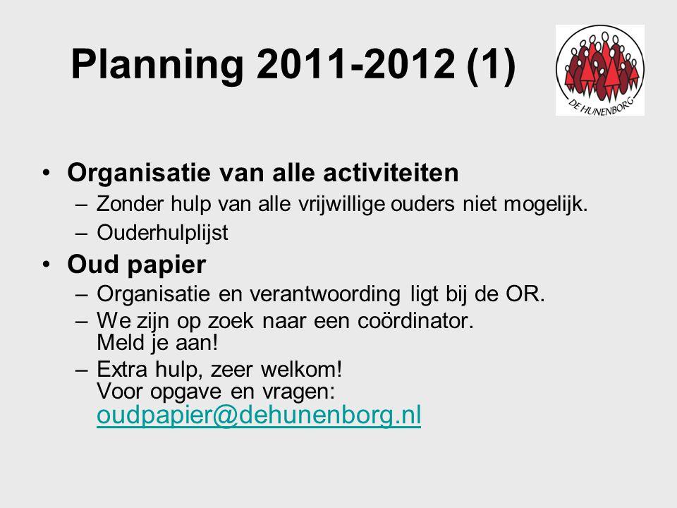 Planning 2011-2012 (1) Organisatie van alle activiteiten –Zonder hulp van alle vrijwillige ouders niet mogelijk. –Ouderhulplijst Oud papier –Organisat