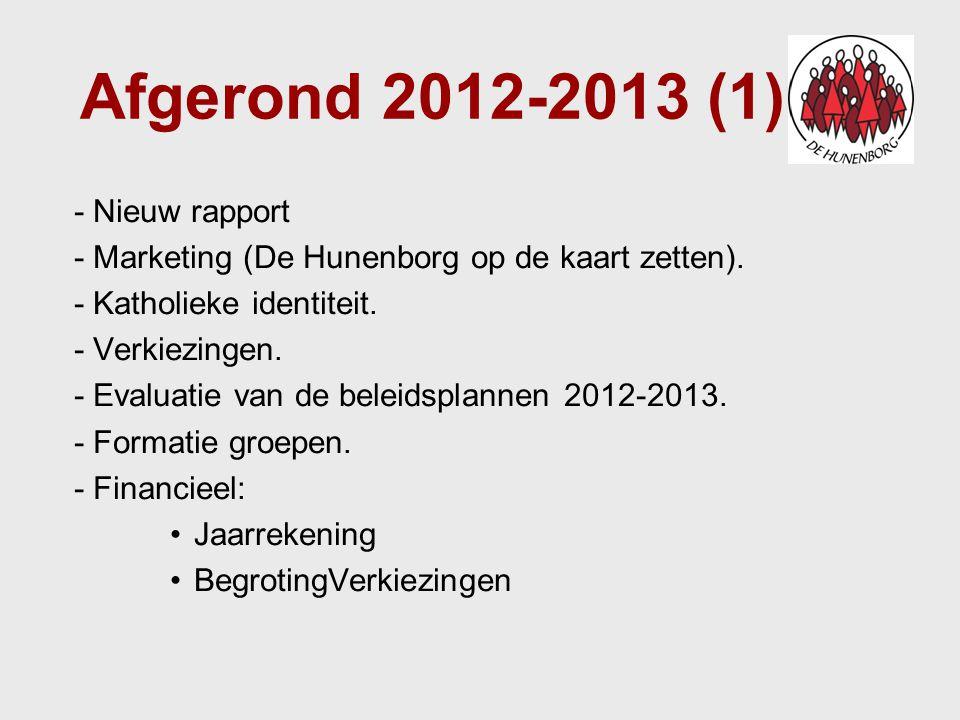 Afgerond 2012-2013 (1) - Nieuw rapport - Marketing (De Hunenborg op de kaart zetten). - Katholieke identiteit. - Verkiezingen. - Evaluatie van de bele