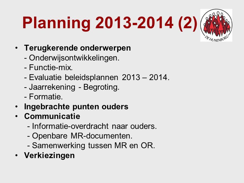 Planning 2013-2014 (2) Terugkerende onderwerpen - Onderwijsontwikkelingen. - Functie-mix. - Evaluatie beleidsplannen 2013 – 2014. - Jaarrekening - Beg