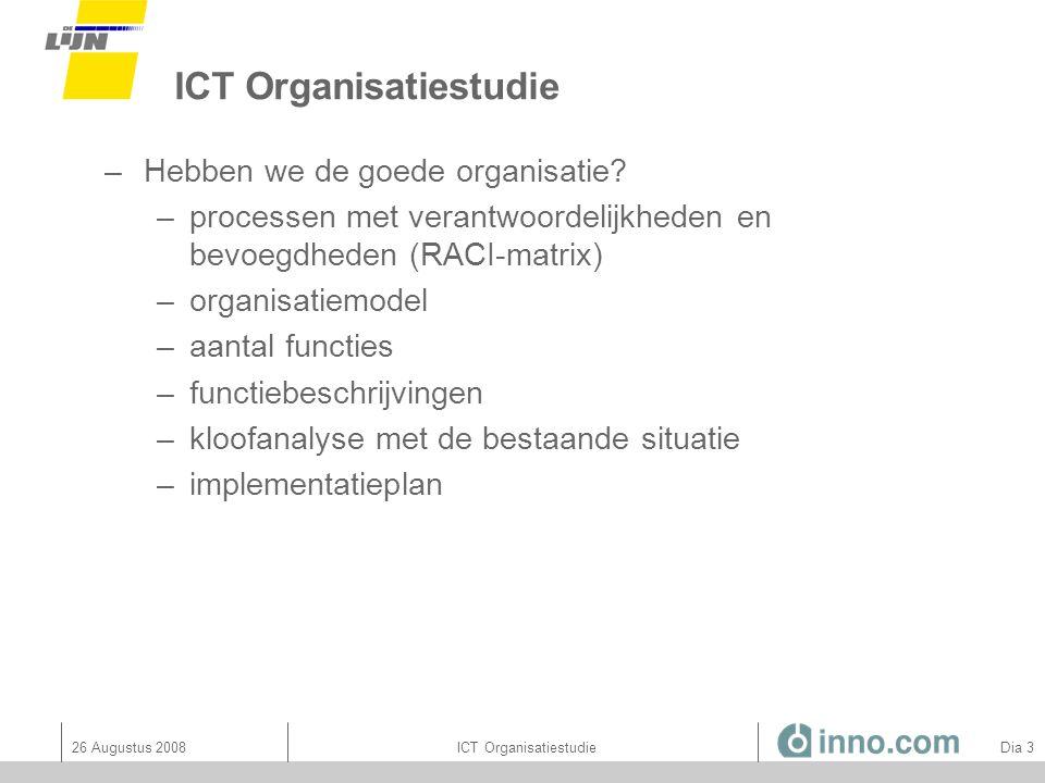 26 Augustus 2008ICT Organisatiestudie Dia 54 RACI accenten: per ICT principe 8.