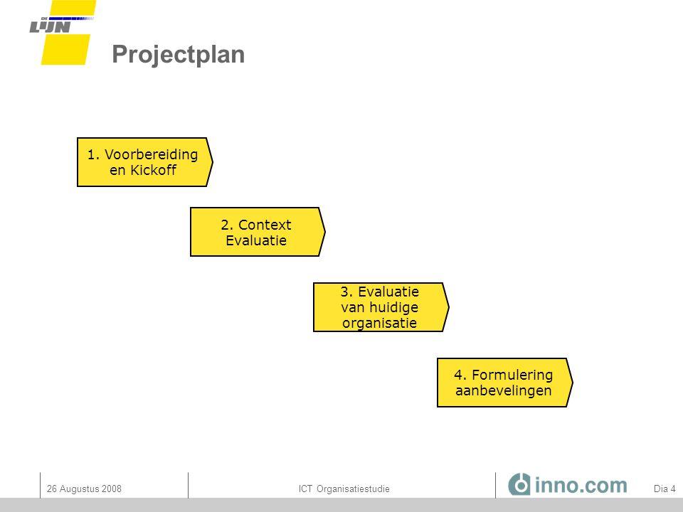 26 Augustus 2008ICT Organisatiestudie Dia 75 Cobit domeinGemiddelde Maturiteit PO: Plan and organize AI: Acquire and implement DS: Deliver and support ME: Monitor and evaluate Globaal: 1,262,45 1,782,75 1,522,51 1,252,56 1,452,54 Gemiddelde, globale doelmaturiteit is ongeveer 2,5 Kloofanalyse: Processen (in termen van huidige & gewenste maturiteit)