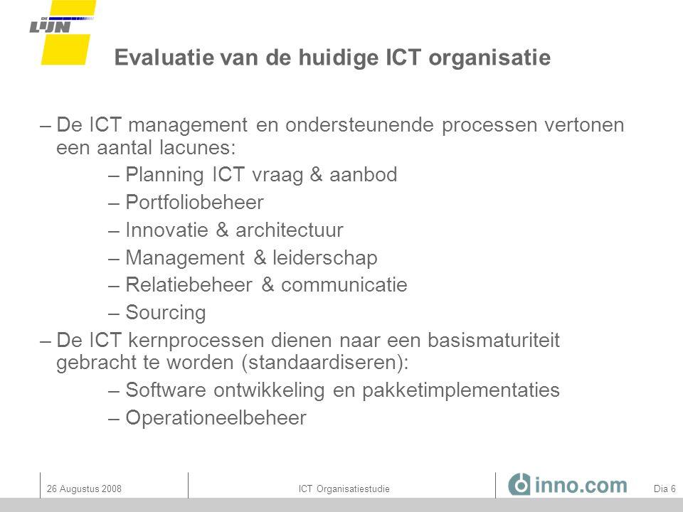 26 Augustus 2008ICT Organisatiestudie Dia 47 RACI accenten: per ICT principe 1.De ict-prioriteiten worden in een geïntegreerde planningscyclus rechtstreeks gekoppeld aan de strategische doelstellingen van De Lijn.