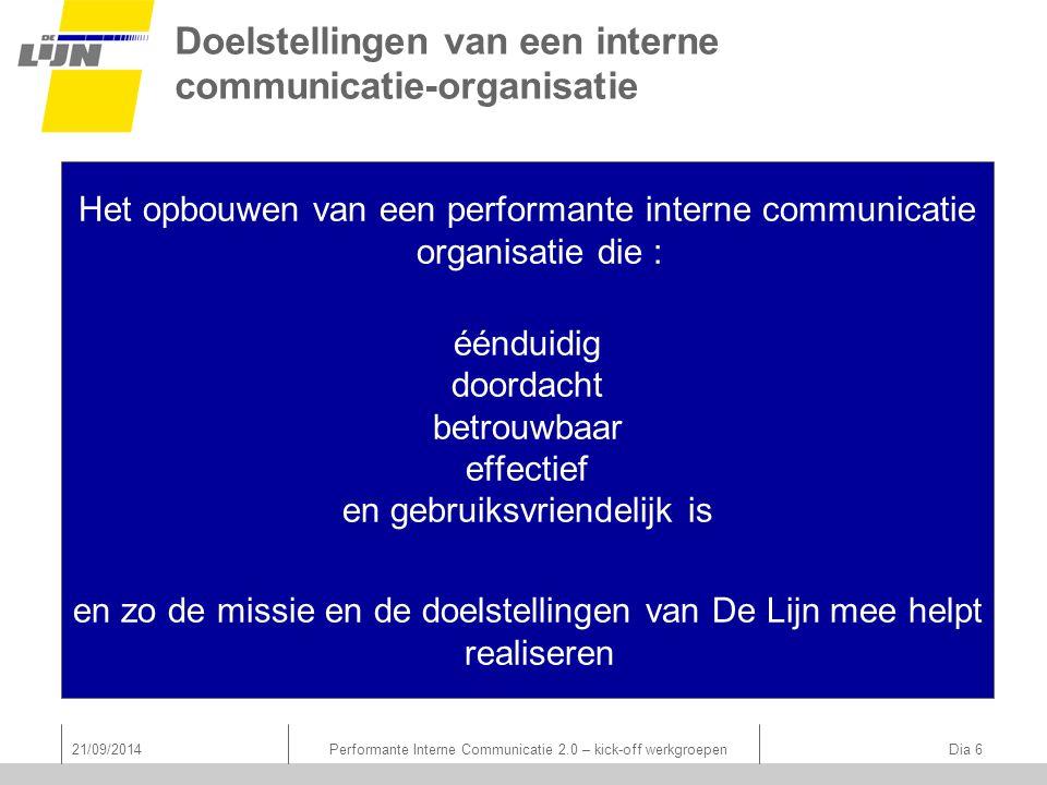 Doelstellingen van een interne communicatie-organisatie Het opbouwen van een performante interne communicatie organisatie die : éénduidig doordacht be