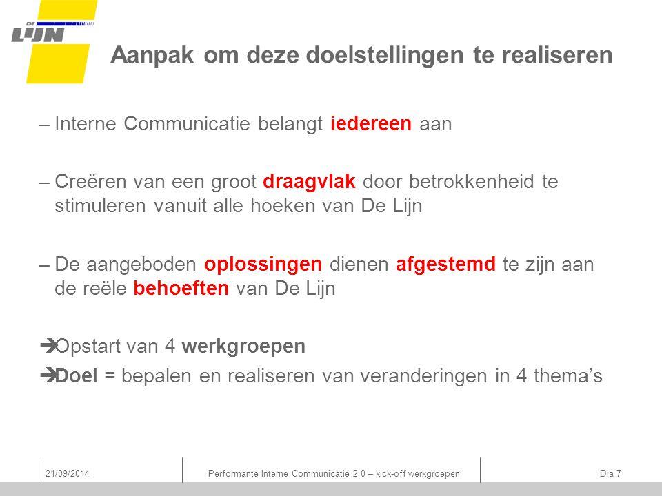 Aanpak om deze doelstellingen te realiseren –Interne Communicatie belangt iedereen aan –Creëren van een groot draagvlak door betrokkenheid te stimuleren vanuit alle hoeken van De Lijn –De aangeboden oplossingen dienen afgestemd te zijn aan de reële behoeften van De Lijn  Opstart van 4 werkgroepen  Doel = bepalen en realiseren van veranderingen in 4 thema's 21/09/2014Performante Interne Communicatie 2.0 – kick-off werkgroepen Dia 7
