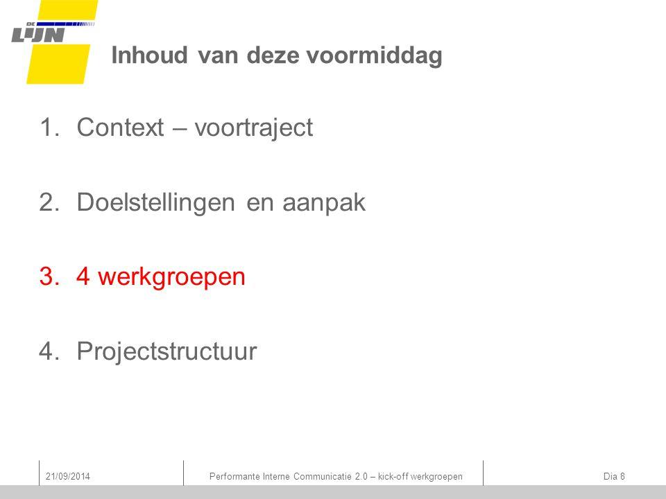 Inhoud van deze voormiddag 1.Context – voortraject 2.Doelstellingen en aanpak 3.4 werkgroepen 4.Projectstructuur 21/09/2014Performante Interne Communicatie 2.0 – kick-off werkgroepen Dia 8