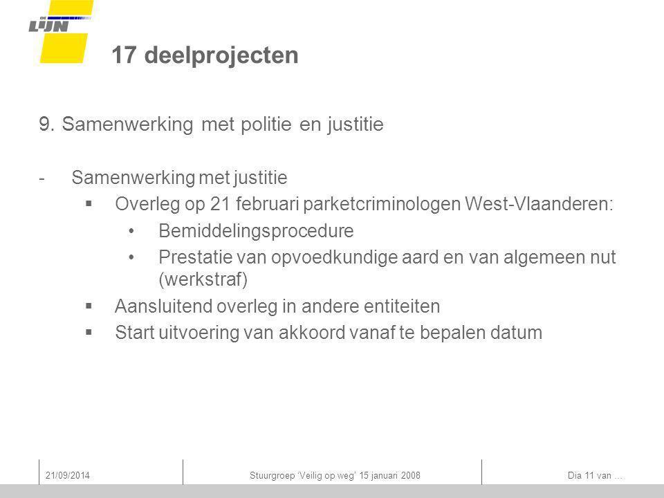 21/09/2014Stuurgroep 'Veilig op weg' 15 januari 2008 Dia 11 van … 17 deelprojecten 9.