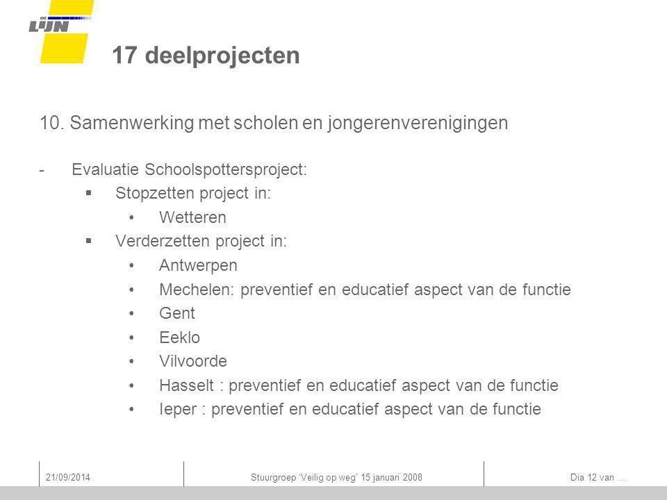21/09/2014Stuurgroep 'Veilig op weg' 15 januari 2008 Dia 12 van … 17 deelprojecten 10.