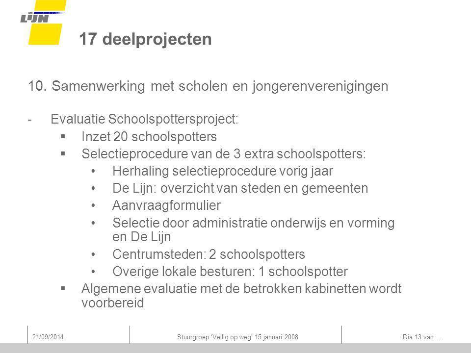 21/09/2014Stuurgroep 'Veilig op weg' 15 januari 2008 Dia 13 van … 17 deelprojecten 10.