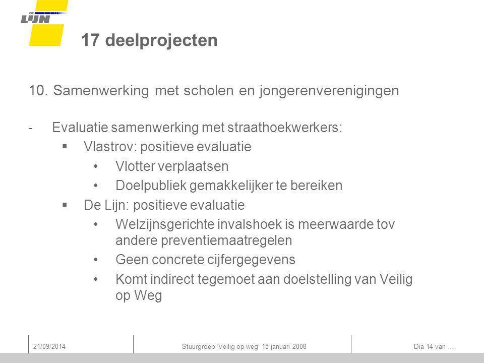 21/09/2014Stuurgroep 'Veilig op weg' 15 januari 2008 Dia 14 van … 17 deelprojecten 10.