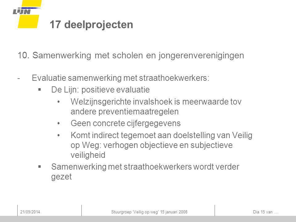 21/09/2014Stuurgroep 'Veilig op weg' 15 januari 2008 Dia 15 van … 17 deelprojecten 10.